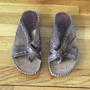 Strictly Comfort Leather Brown Sandals 7W